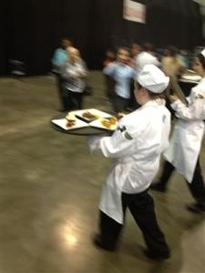 Students were docked points if they were late presented their meals to the judges. Many students rushed steadily to set their creations down, Glenn said.