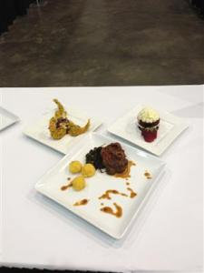 """Hammond's awarded creations was appetizer-pumpkin seed and curry crusted jumbo Anna Maria Gulf Shrimp, Mardi Gras slaw, pepper bacon and Creole cane sauce with jumbo lump Louisiana crab; entrée-braised pork """"Osso Bucco,"""" bacon jam, cornmeal dusted, goat cheese grits and lardon field greens; and dessert-Red Velvet pan """"cakes,"""" with cream cheese icing, whipped cream, white chocolate shavings, and garnished with a Ponchatoula strawberry, ProStart program reported."""